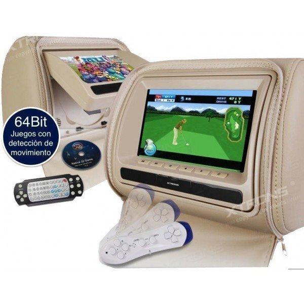Reposacabezas LCD, DVD, USB, SD y juegos. REF: TR1426
