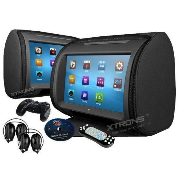 "2*9""Digital Touch Screen Headrest with DVD, USB, SD Card and games. REF: TR1430"