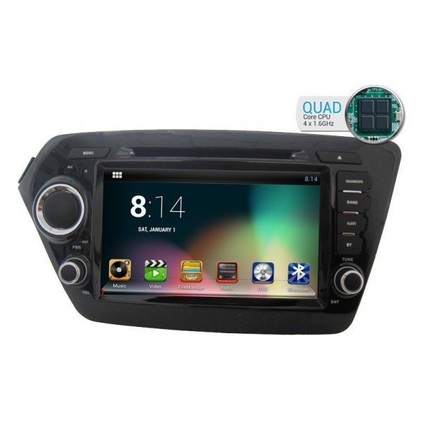 Radio DVD GPS HD QUAD CORE Kia Rio / K2 PURE ANDROID REF: TR1823