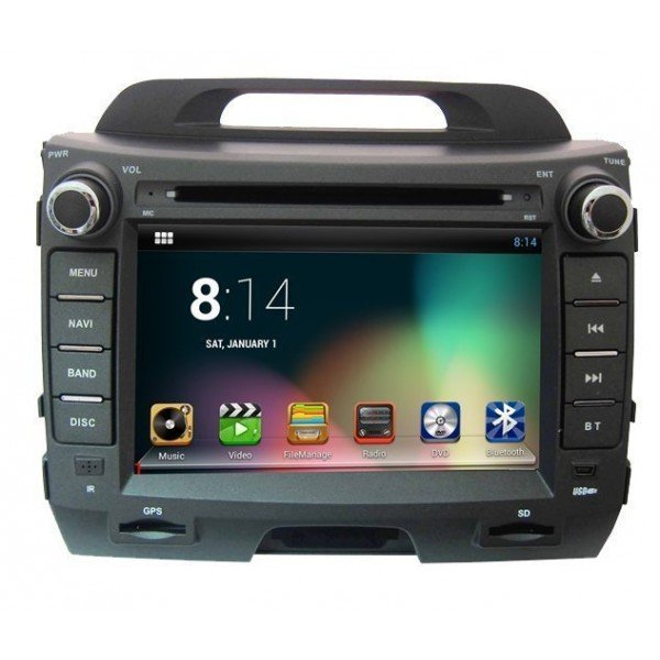 Radio DVD GPS HD QUAD CORE Kia Sportage R PURE ANDROID REF: TR1824