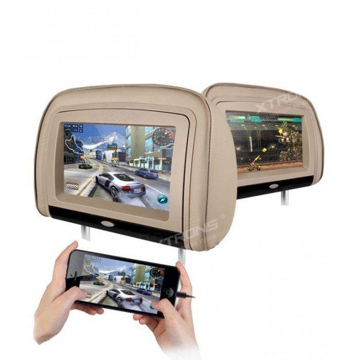 2 Reposacabezas LCD, DVD, USB, SD y juegos. REF: TR1439
