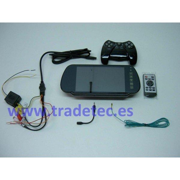 "Retrovisor LCD 7"", bluetooth, cámara"