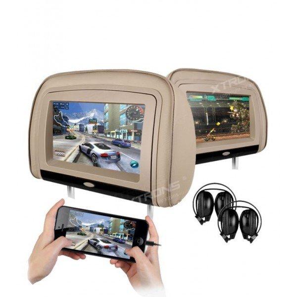 2 Reposacabezas LCD, DVD, USB, SD y juegos. REF: TR1441