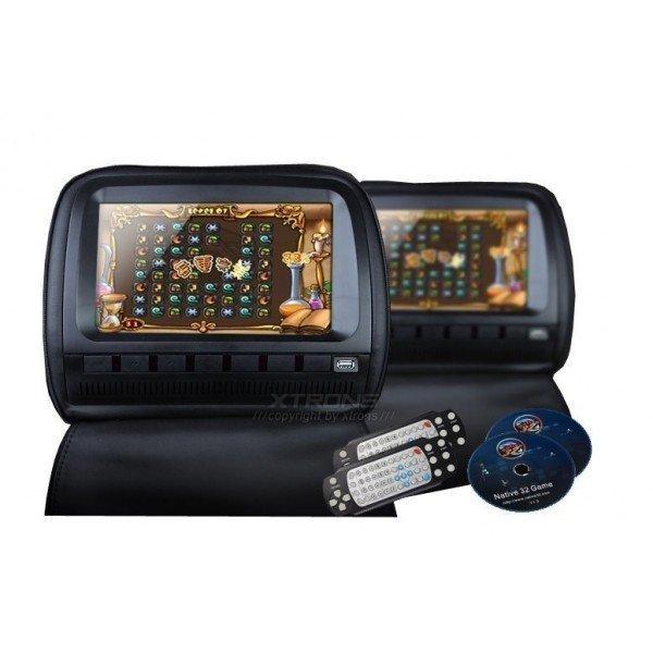2 Reposacabezas LCD, DVD, USB, SD y juegos. REF: TR2047